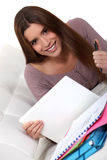 Student met laptop Stock Fotografie