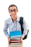 Student met stapel boeken Stock Fotografie