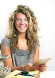 Student with mirror Royalty Free Stock Photography
