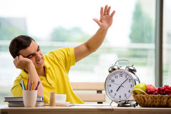 The student missing deadlines for exam preparation Stock Images
