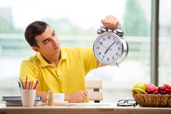 The student missing deadlines for exam preparation Royalty Free Stock Image