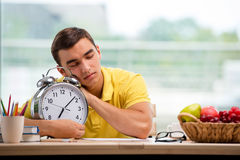 The student missing deadlines for exam preparation Stock Image