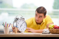 The student missing deadlines for exam preparation Royalty Free Stock Photo