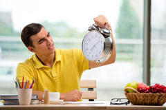 The student missing deadlines for exam preparation Royalty Free Stock Images
