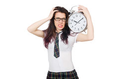 Student missing her deadlines isolated Royalty Free Stock Photography