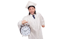 Student missing his deadlines with clock Stock Photos