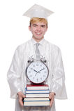 Student missing his deadlines with clock Stock Photo