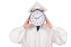 Student missing his deadlines with clock Royalty Free Stock Photography
