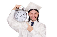 Student missing his deadlines with clock Stock Photography