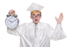 Student missing his deadlines with clock Royalty Free Stock Photos