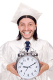 Student missing his deadlines with clock Royalty Free Stock Images