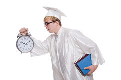 Student missing his deadlines with clock Stock Images