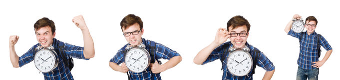 The student missing his studying deadlines on white Stock Photo