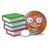 Student mit Buch plenet Quecksilber lokalisiert in einem Maskottchen lizenzfreie abbildung