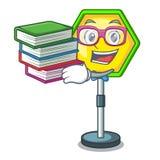 Student mit dem BuchVerkehrszeichen lokalisiert auf dem Maskottchen stock abbildung