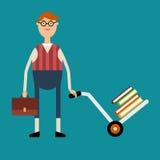 Student mit den Gläsern, die einen Aktenkoffer halten und einen Warenkorb mit drücken Lizenzfreie Stockfotografie