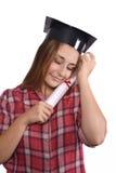 Student mit Diplom und Staffelungskappe stockbilder
