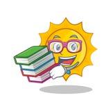Student mit Sonnen-Charakterkarikatur des Buches netter