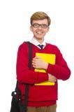 Student mit Tasche und Papier lokalisiert auf Weiß Lizenzfreies Stockbild