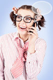 Student on a mobile call with speech bubbles Royalty Free Stock Photo