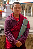 Student Monk at Do Drul Chorten Stupa Royalty Free Stock Photo