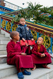 Student Monk. Three children Buddhist students with their manuscript at Ralang Monastery, Sikkim, India Royalty Free Stock Image