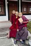 Student Monk. Three children Buddhist students with their manuscript at Ralang Monastery, Sikkim, India Stock Photos