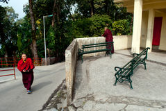 Student Monk. Two Buddhist student monk at Do Drul Chorten Stupa student hostel at Sikkim, India Stock Photos