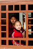 Student Monk. Two children Buddhist students at Ralang Monastery, Sikkim, India Stock Images