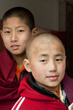 Student Monk. Two children Buddhist students at Ralang Monastery, Sikkim, India Stock Photos