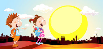 Student in the morning go to school - vector illustration Royalty Free Stock Photo