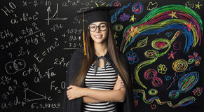 Student in Mortarboard Graduation Hat, Young Woman Learning Math