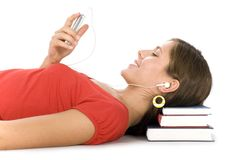 Student with mp3 player Royalty Free Stock Photography