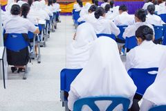 Student Muslims and teacher seminar in the lecture room with copy space add text.  Royalty Free Stock Images