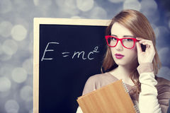student near blackboard Royalty Free Stock Image