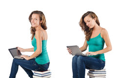 The student with netbook sitting on books Royalty Free Stock Image