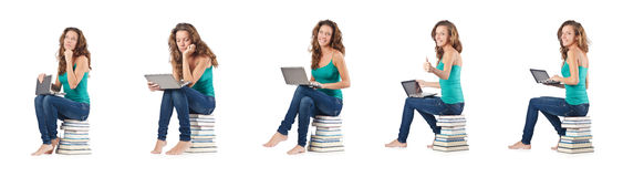 The student with netbook sitting on books Royalty Free Stock Photography