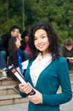 Student with Notebook. Asian Student with notepad on campus Stock Photos