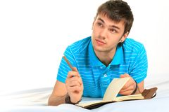 Student and notebook. Stock Photo