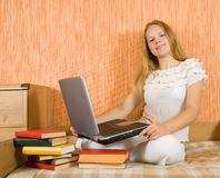 Student with notebook and books Stock Image