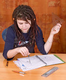 Student with notes Royalty Free Stock Photos
