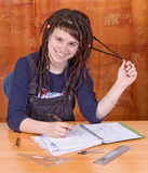 Student with notes Royalty Free Stock Images