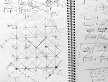 Student notes on physics. Fragment. Stock Photography