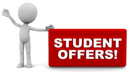 Student offers. Words on a banner being hailed by a little 3d man against white background, red banner Stock Photos