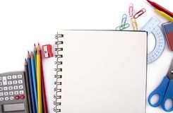 Student- office material on white table. stock photography
