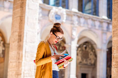 Student in the oldest university in Bologna city Stock Photo