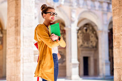 Student in the oldest university in Bologna city Royalty Free Stock Images