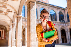 Student in the oldest university in Bologna city Royalty Free Stock Image