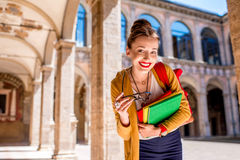 Student in the oldest university in Bologna city Stock Photos