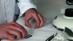 student op medisch school cuting zaad dat hij het onder de microscoop zal zetten